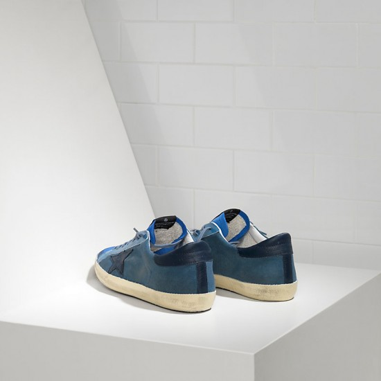 Men's Golden Goose sneakers superstar in blue canvas
