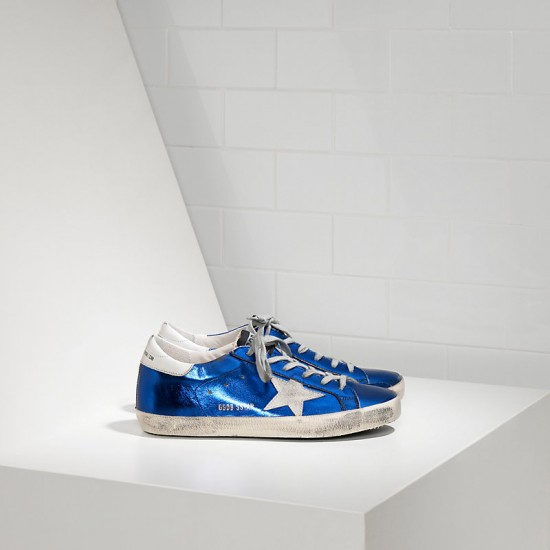 Men's Golden Goose sneakers superstar in blue laminated white