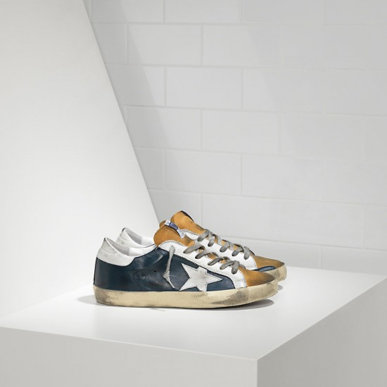 Men's Golden Goose sneakers superstar in blue leather beige