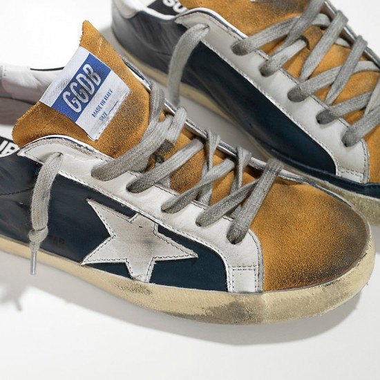 Men's Golden Goose sneakers superstar in blue leather beige
