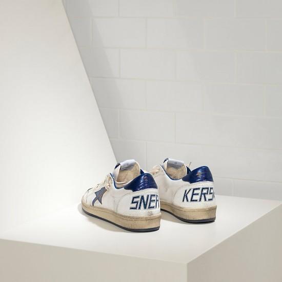Men's Golden Goose sneakers superstar in blue star logo white leather