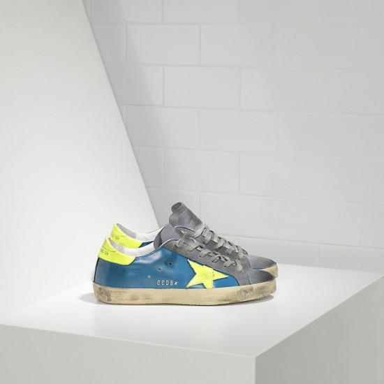 Men's/Women's Golden Goose sneakers superstar in fluo sky yellow fluo star