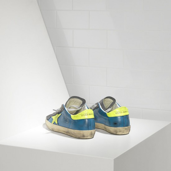 Men's/Women's Golden Goose sneakers superstar in fluo sky yellow fluo star