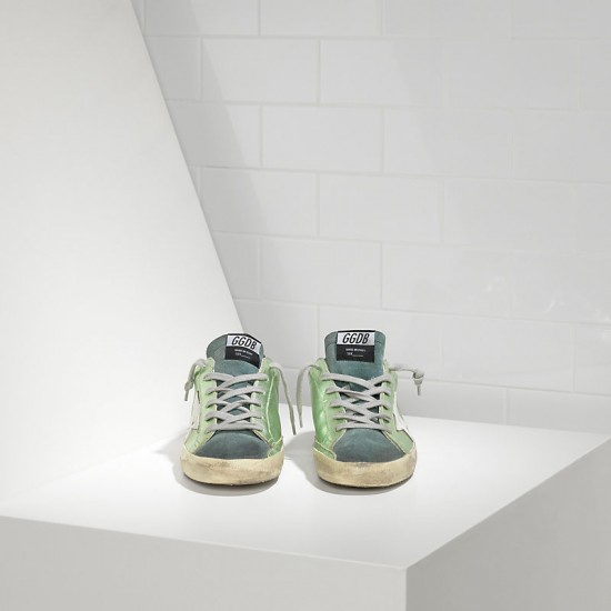 Men's/Women's Golden Goose sneakers superstar in green lame white