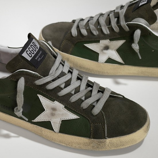 Men's Golden Goose sneakers superstar in green leather forest