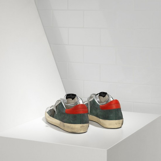 Men's Golden Goose sneakers superstar in green suede red silver