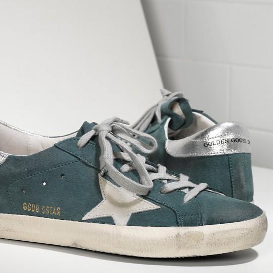 Men's Golden Goose sneakers superstar in green suede silver