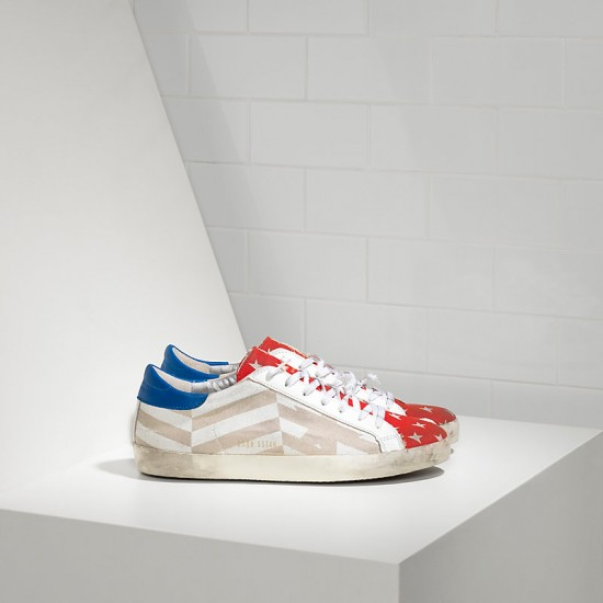 Men's/Women's Golden Goose sneakers superstar in natural canvas flag