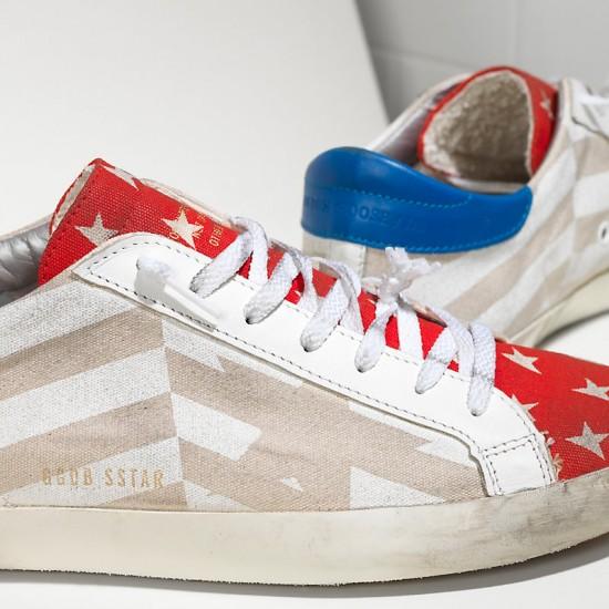 Men's/Women's Golden Goose sneakers superstar in natural canvas flag