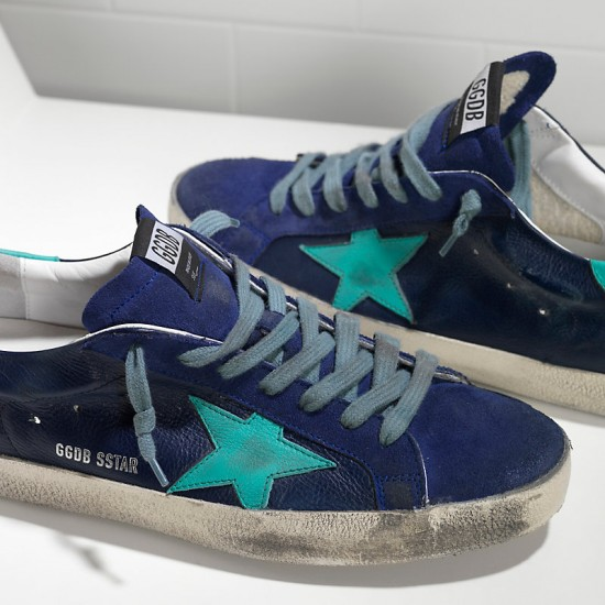 Men's Golden Goose sneakers superstar in ny leather blue sude