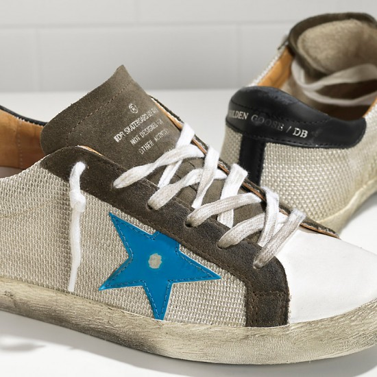 Men's Golden Goose sneakers superstar in silver net bluette