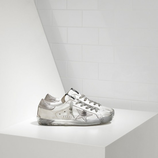 Men's/Women's Golden Goose sneakers superstar in sparkle white silver