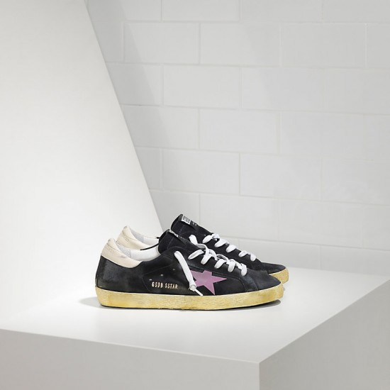 Men's/Women's Golden Goose sneakers superstar in stickers blue suede pink