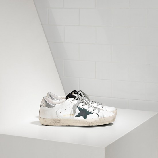 Men's/Women's Golden Goose sneakers superstar in white petroleum star