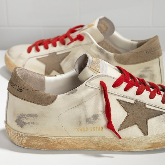 Men's Golden Goose sneakers superstar in white red lace