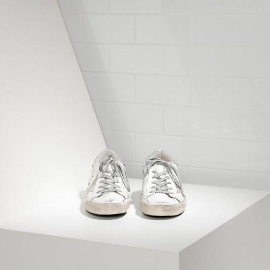 Men's Golden Goose sneakers superstar in white silver metal