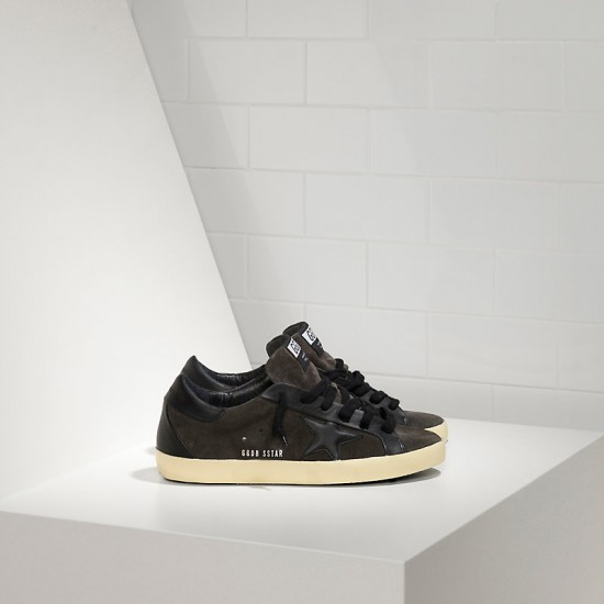 Men's Golden Goose sneakers superstar leather in asphalt black star