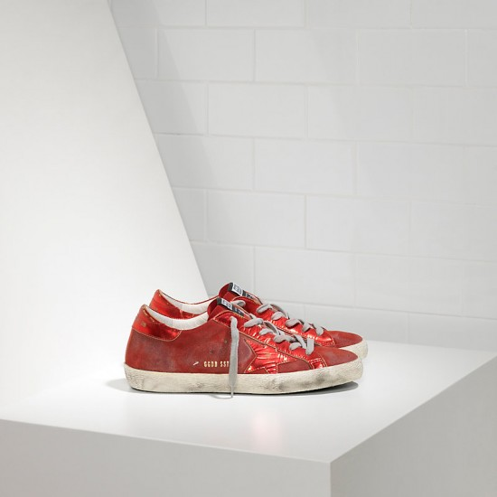 Men's/Women's Golden Goose sneakers superstar leather in laminata red mirror