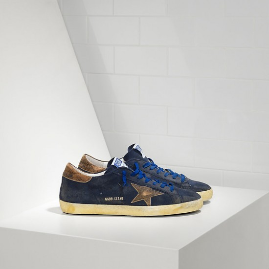 Men's Golden Goose sneakers superstar leather in navy suede club
