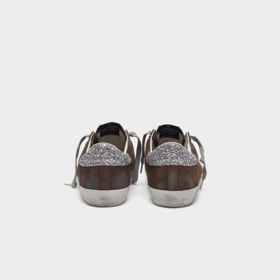 Men's/Women's Golden Goose suede superstar sneakers with glittery in brown