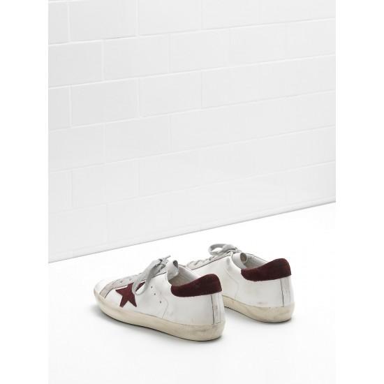 Men's/Women's Golden Goose superstar sneakers calf leather in wine star white