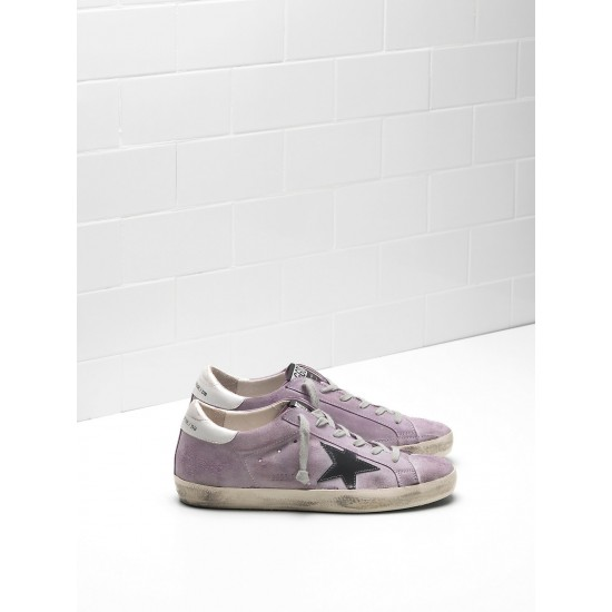 Men's/Women's Golden Goose superstar sneakers calf suede purple black logo