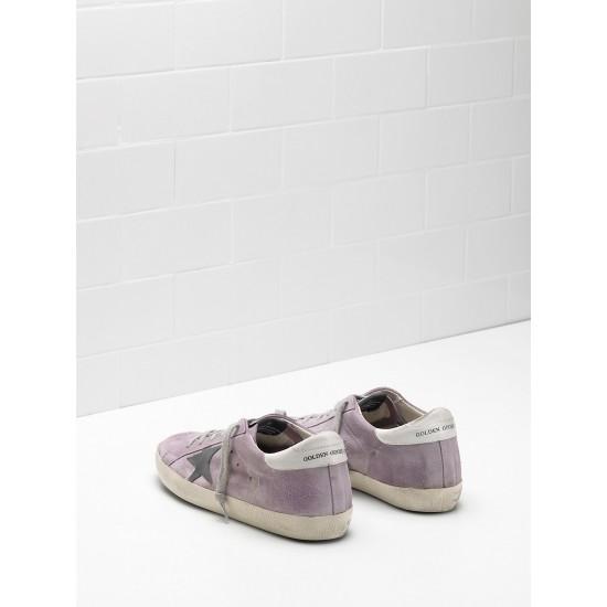 Men's/Women's Golden Goose superstar sneakers calf suede purple black logo
