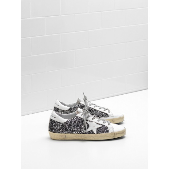 Men's/Women's Golden Goose superstar sneakers flag ltd fabric eyelets natural black