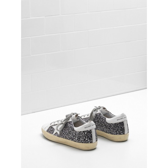 Men's/Women's Golden Goose superstar sneakers flag ltd fabric eyelets natural black