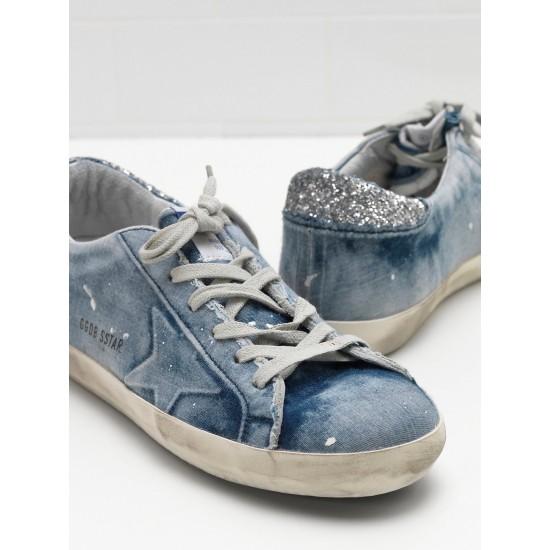 Men's/Women's Golden Goose superstar sneakers in denim blue star logo silver