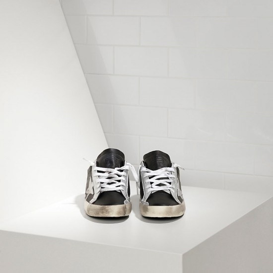 Men's Golden Goose superstar sneakers in leather star black leather silver