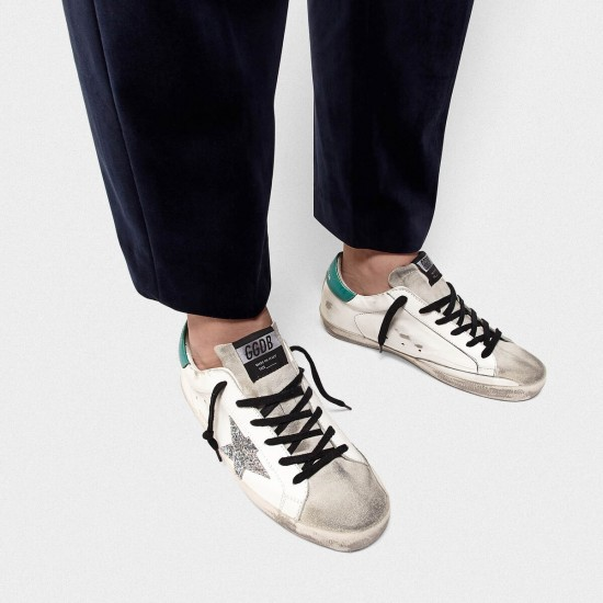 Men's/Women's Golden Goose superstar sneakers in leather with glittery star