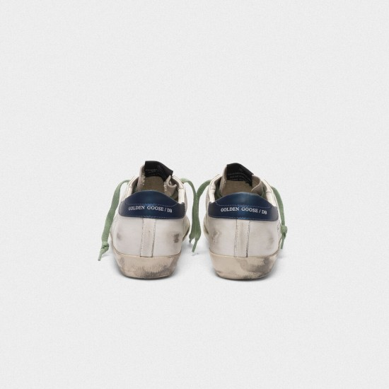 Men's/Women's Golden Goose superstar sneakers in leather with glittery star blue