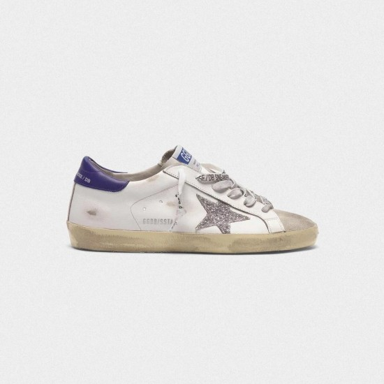 Men's/Women's Golden Goose superstar sneakers in leather with glittery star purple