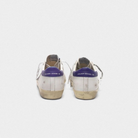 Men's/Women's Golden Goose superstar sneakers in leather with glittery star purple