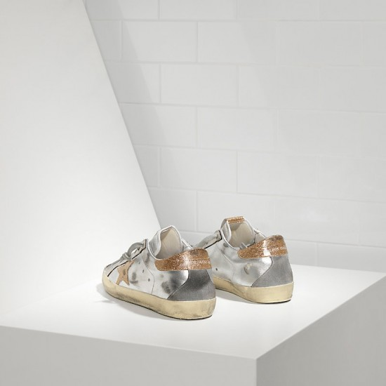 Men's/Women's Golden Goose superstar sneakers with leather star silver gold