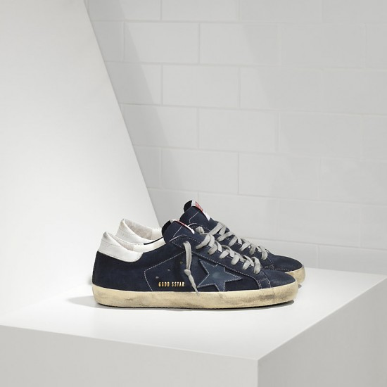 Men's Golden Goose superstar sneakers in suede and leather star blue