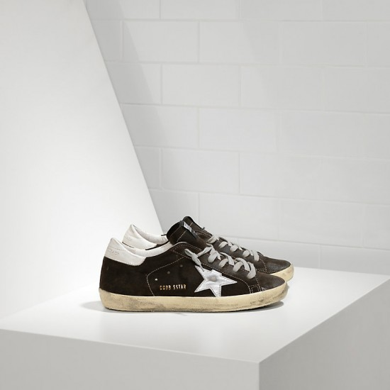 Men's Golden Goose superstar sneakers in suede and leather star coffee