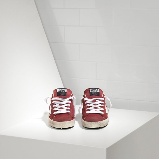 Men's/Women's Golden Goose superstar sneakers in suede red suede white star