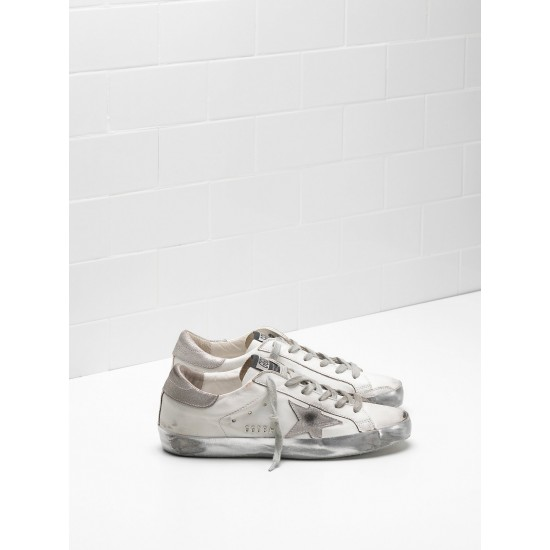 Men's/Women's Golden Goose superstar sneakers in white gray star logo