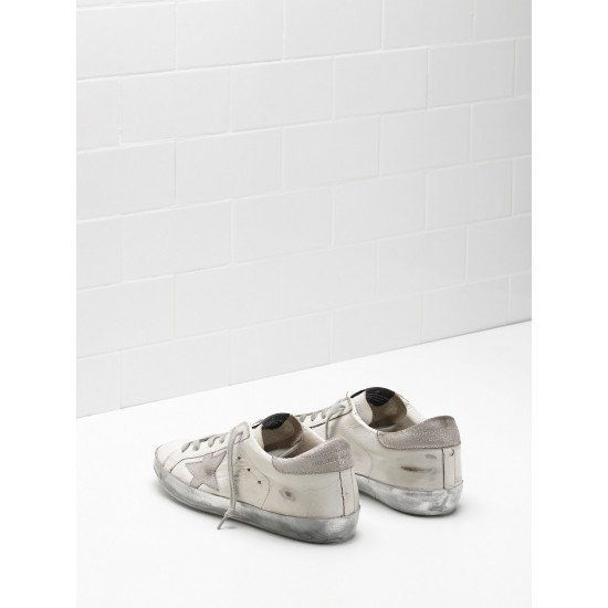 Men's/Women's Golden Goose superstar sneakers in white gray star logo