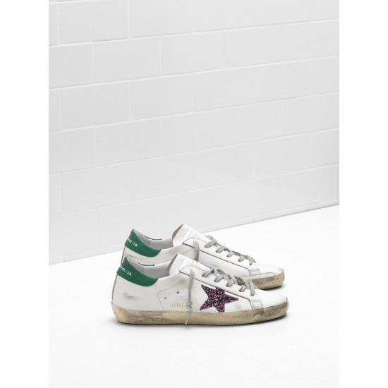 Men's/Women's Golden Goose superstar sneakers leather glitter coated star purple