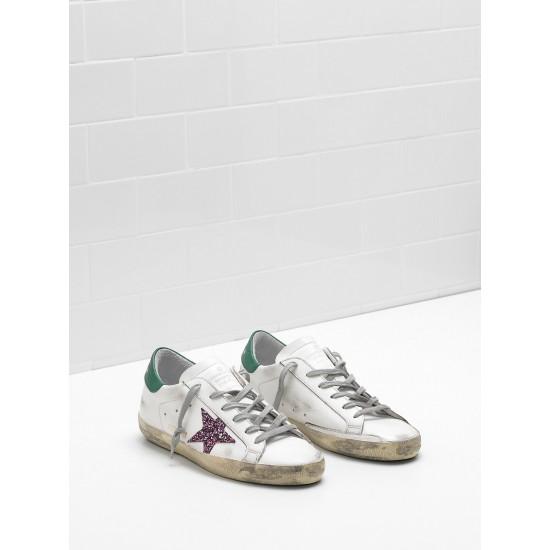 Men's/Women's Golden Goose superstar sneakers leather glitter coated star purple