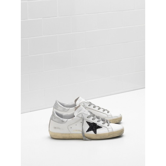 Men's/Women's Golden Goose superstar sneakers leather glitter star in black