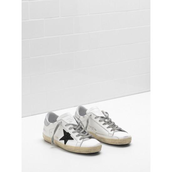 Men's/Women's Golden Goose superstar sneakers leather glitter star in black