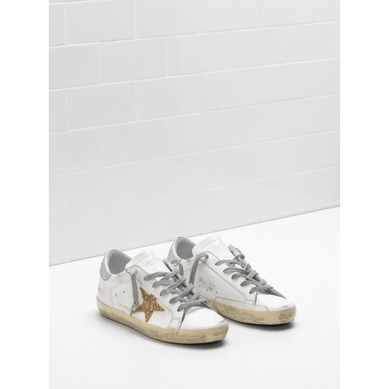 Men's/Women's Golden Goose superstar sneakers leather glitter star in golden