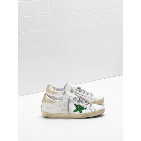 Men's/Women's Golden Goose superstar sneakers leather glitter star in green