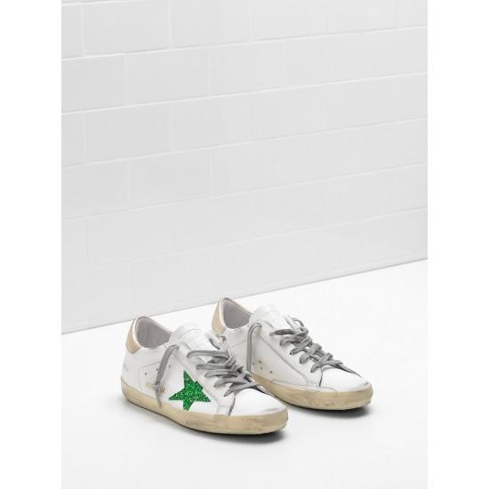 Men's/Women's Golden Goose superstar sneakers leather glitter star in green