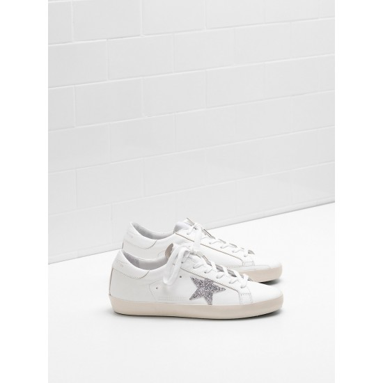 Men's/Women's Golden Goose superstar sneakers glitter star in laminated silver