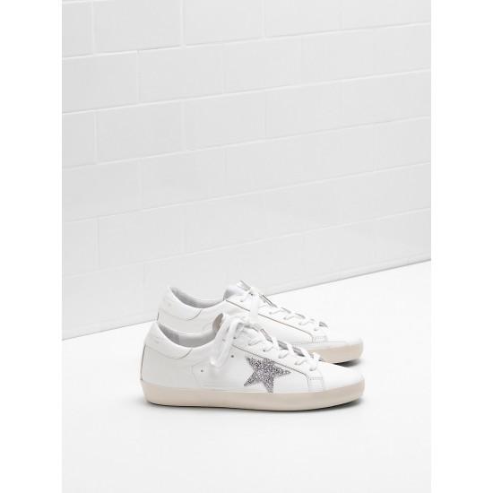 Men's/Women's Golden Goose superstar sneakers glitter star in laminated silver